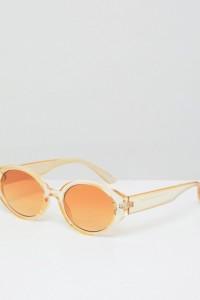 ASOS - Fashion - Ovale Sonnenbrille mit filigranem Gestell und farblich abgestimmten Gläsern in Gelb - Gelb - Farbe:Gelb
