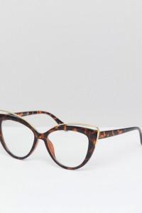 7X - Katzenaugen-Sonnenbrille mit Augenbrauensteg aus Metall - Braun - Farbe:Braun