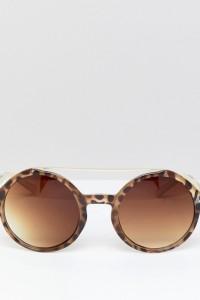7X - Runde Sonnenbrille mit Brauensteg - Braun - Farbe:Braun