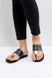 ALDO - Schwarze Sandalen mit T-Riemen - Schwarz - Farbe:Schwarz