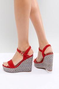 ALDO - Zweiteilige Schuhe mit Keilabsatz und strukturiertem Absatz