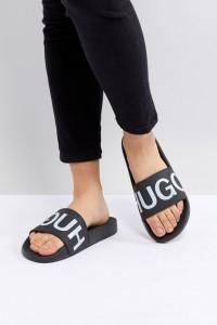 HUGO - Slider mit Logo - Schwarz - Farbe:Schwarz