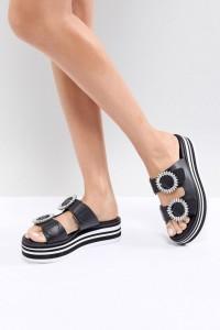 ALDO - Zweiteilige Slipper mit flacher Plateausohle und verzierter Schnalle - Schwarz - Farbe:Schwarz