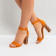Glamorous - Sandalen mit gemustertem Blockabsatz in Senfgelb - Gelb - Farbe:Gelb