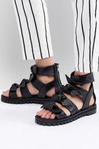 AllSaints - Sandalen mit Knotendetail - Schwarz - Farbe:Schwarz