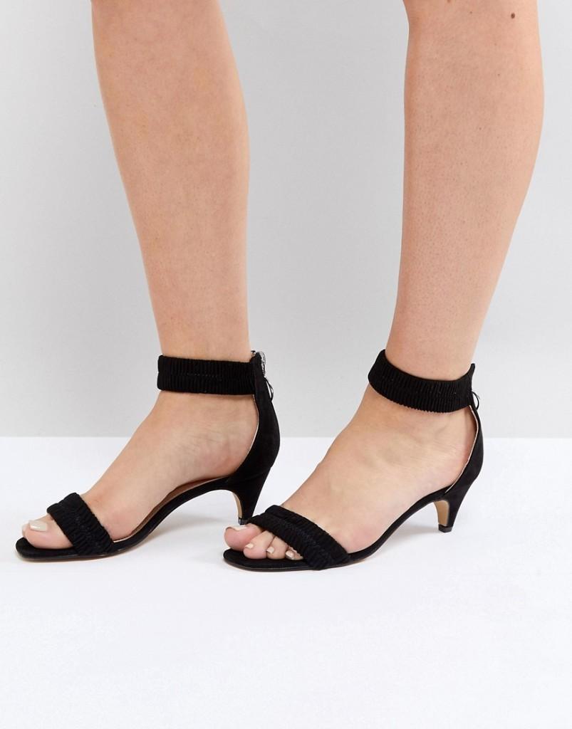 lost ink schwarze sandalen mit raffung und kitten absatz. Black Bedroom Furniture Sets. Home Design Ideas