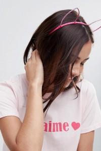 ASOS - HEN - Haarband mit glitzernden Fuchsohren - Rosa - Farbe:Rosa