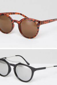 7X - 2er Packung Sonnenbrillen mit runden Gläsern - Schwarz - Farbe:Schwarz