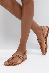 ASOS - FEELS - Flache Ledersandalen - Bronze - Farbe:Bronze