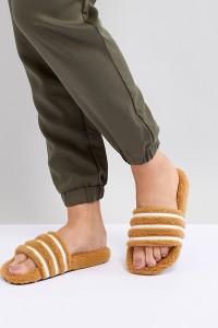 adidas Originals - Adilette - Flauschige Sandalen in Hellbraun - Schwarz - Farbe:Schwarz