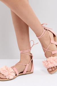 ASOS - FAA - Flache Sandalen zum Schnüren - Rosa - Farbe:Rosa