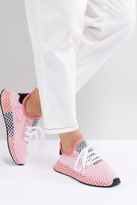 adidas Originals - Deerupt Runner - Sneaker in Rosa und Red - Rosa - Farbe:Rosa