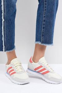 adidas - Originals Haven - Sneaker in gebrochenem Weiß und Rot - Weiß - Farbe:Weiß