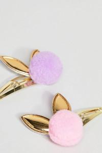 ASOS - Haarspangen mit Bommel- und Häschendesign im 2er-Set - Mehrfarbig - Farbe:Mehrfarbig