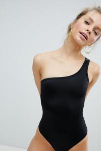 Monki - Badeanzug mit One-Shoulder-Träger - Schwarz - Farbe:Schwarz