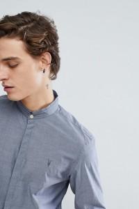 AllSaints - Hemd in Indigoblau mit Grandad-Kragen und Logo - Navy - Farbe:Navy