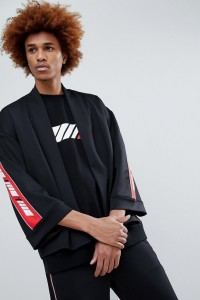 Antimatter - Kimono-Hemd mit Logostreifen - Schwarz - Farbe:Schwarz