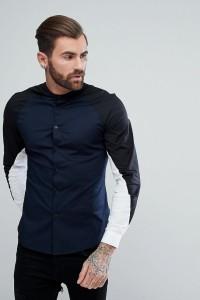 ASOS - Cut and Sew - Enges Hemd mit Grandad-Kragen in Marine - Navy - Farbe:Navy