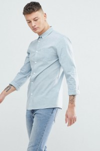 Another Influence - Schlichtes Chambray-Hemd mit langem Arm - Blau - Farbe:Blau