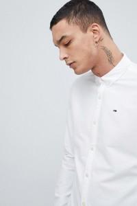 Tommy Jeans - Weißes Basic-Oxford-Hemd in normaler Passform mit Flaggenlogo und Button-Down-Kragen - Weiß - Farbe:Weiß