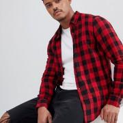 Pull&Bear - Rot kariertes Hemd in normaler Passform - Rot - Farbe:Rot