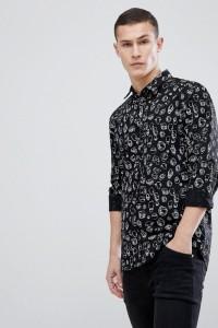 HUGO - Voodoo - Schmales Hemd mit Musterdruck in Schwarz - Schwarz - Farbe:Schwarz