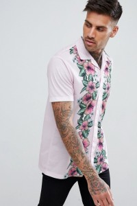 Urban Threads - Hemd mit Blumenprint und Reverskragen - Cremeweiß - Farbe:Cremeweiß