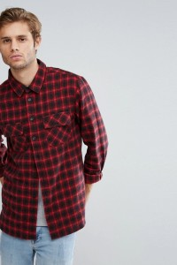 Another Influence - Kariertes Flanellhemd mit zwei Taschen - Schwarz - Farbe:Schwarz