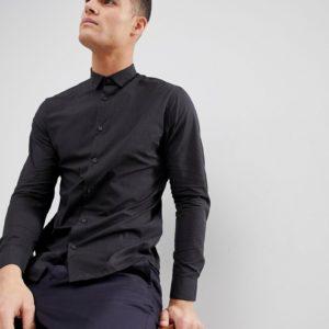 Selected Homme – Klein kariertes Hemd mit schmalem Schnitt – Schwarz