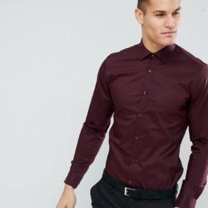 Moss London – Sehr schmales, elegantes Stretch-Hemd – Rot