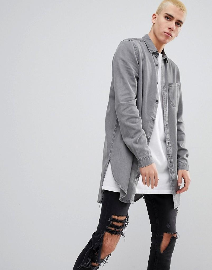 34da7749813220 ASOS - Lang geschnittenes Jeanshemd in Grau
