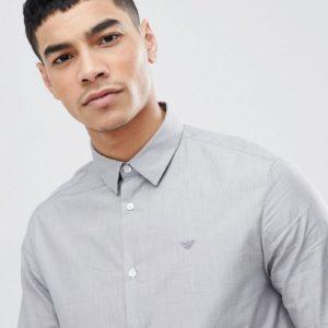 Emporio Armani – Schmales, strukturiertes Hemd in Grau – Grau