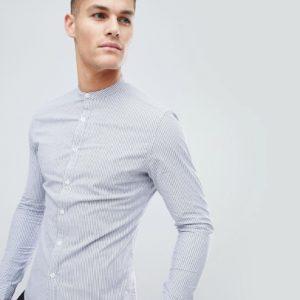 ASOS DESIGN – Elegantes, enges Hemd mit Streifen und Grandad-Kragen – Blau