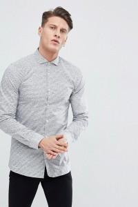 HUGO - Schmal geschnittenes Hemd mit Schriftzug-Logo in Weiß - Weiß - Farbe:Weiß