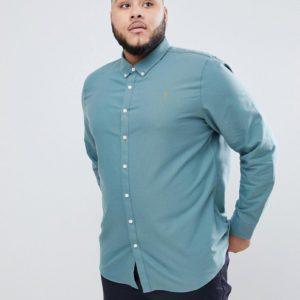 Farah PLUS – Brewer – Schmal geschnittenes Oxford-Hemd in Grün – Grün