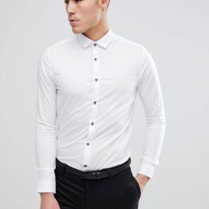 Burton Menswear – Enges, langärmliges Hemd in Weiß – Weiß