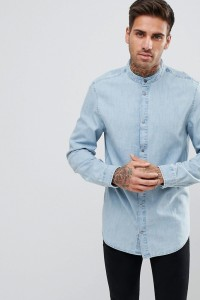 YOURTURN - Jeanshemd mit Grandad-Kragen in hellblauer Waschung - Blau - Farbe:Blau