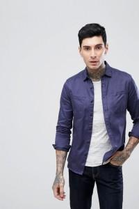 ASOS - Blaue Hemdjacke mit zwei Taschen - Blau - Farbe:Blau