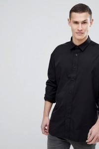 HUGO - Schwarzes Hemd mit Zierband unter dem Ärmel - Schwarz - Farbe:Schwarz