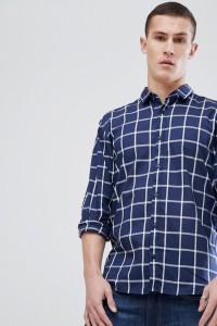 HUGO - Marineblaues Hemd mit Fensterkaros in schlanker Passform - Navy - Farbe:Navy