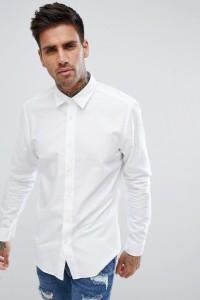 HUGO - Hemd mit Logo auf der Brust in Weiß - Weiß - Farbe:Weiß