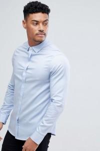 Armani Exchange - Blaues Oxford-Hemd mit schmalem Schnitt - Blau - Farbe:Blau