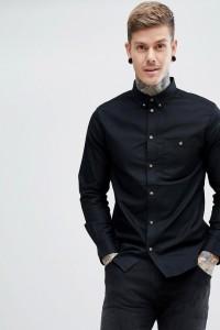 Weekday - Bad Times - Schwarzes Hemd - Schwarz - Farbe:Schwarz