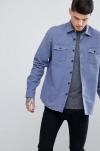 ASOS - Blaue Hemdjacke aus gebürstetem Leinen - Blau - Farbe:Blau