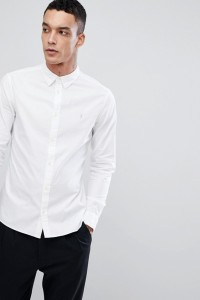 AllSaints - Langärmliges Popeline-Hemd - Weiß - Farbe:Weiß
