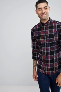 Wrangler - Kariertes Button-Down-Hemd mit Tasche - Schwarz - Farbe:Schwarz
