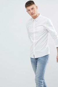 Another Influence - Schlichtes Chambray-Hemd mit langem Arm - Weiß - Farbe:Weiß