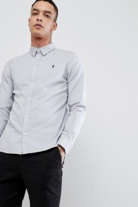 AllSaints - Langärmliges Popeline-Hemd - Grau - Farbe:Grau