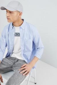 Abercrombie & Fitch - Hellblaues Popeline-Hemd mit Elchlogo und Button-Down-Kragen - Blau - Farbe:Blau