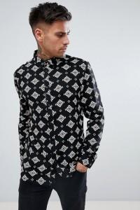 Another Influence - Langärmliges Hemd mit Aztekenmuster - Schwarz - Farbe:Schwarz